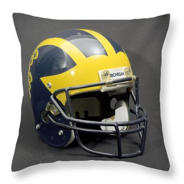 Throw Pillow featuring the photograph 1990s Wolverine Helmet by Michigan Helmet