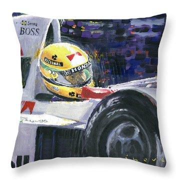 1990 Mclaren Honda Mp4 5b Ayrton Senna World Champion Throw Pillow by Yuriy Shevchuk