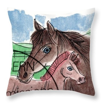 1993 Switzerland Horses Postage Stamp Throw Pillow