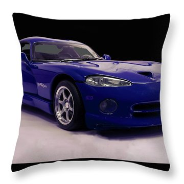 Throw Pillow featuring the digital art 1997 Dodge Viper Gts Blue by Chris Flees
