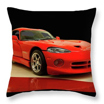 Throw Pillow featuring the digital art 1997 Dodge Viper Gts Red by Chris Flees