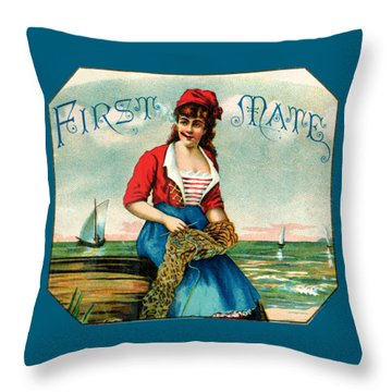 19th C. First Mate Cigars Throw Pillow by Historic Image