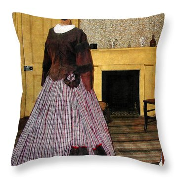 19th Century Plaid Dress Throw Pillow by Susan Savad