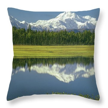 1m1325 Mt. Hunter And Mt. Denali Throw Pillow