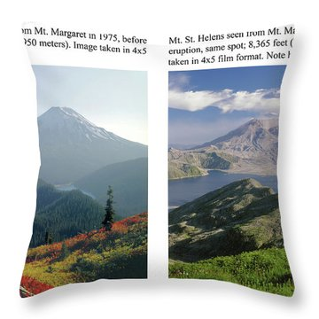 Throw Pillow featuring the photograph 1m4903 And 1m4948 Mt. Saint Helens Before And After Wa by Ed Cooper Photography