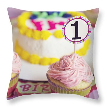 1st Birthday Throw Pillow by Cindy Garber Iverson