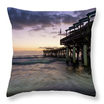 1st Dawn Cocoa Pier Throw Pillow by Jennifer White