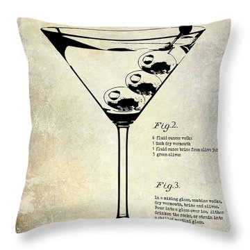 1897 Dirty Martini Patent Throw Pillow