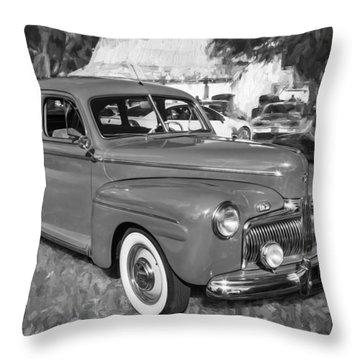 1942 Ford Super Deluxe Sedan Bw  Throw Pillow