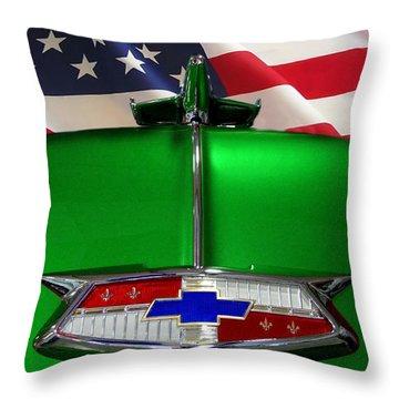 1954 Chevrolet Hood Emblem Throw Pillow by Peter Piatt