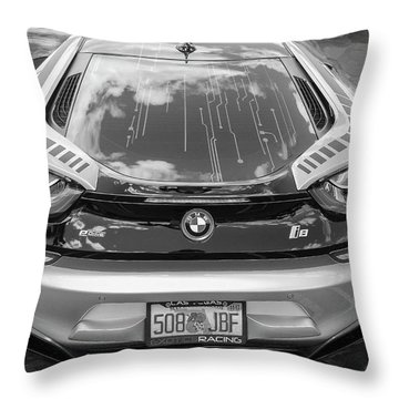 Throw Pillow featuring the photograph 2015 Bmw I8 Hybrid Sports Car Bw by Rich Franco