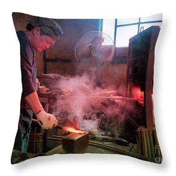 4th Generation Blacksmith, Miki City Japan Throw Pillow