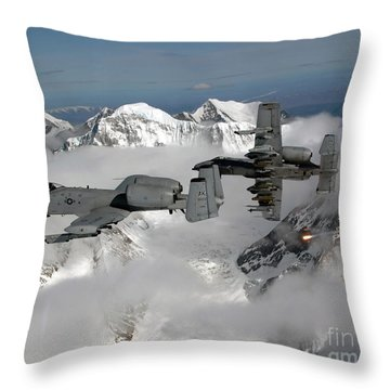 Throw Pillow featuring the photograph A-10 Thunderbolt IIs Fly by Stocktrek Images