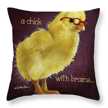A Chick With Brains... Throw Pillow