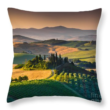A Morning In Tuscany Throw Pillow by JR Photography