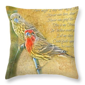 A Pair Of Housefinches With Verse Part 2 - Digital Paint Throw Pillow by Debbie Portwood
