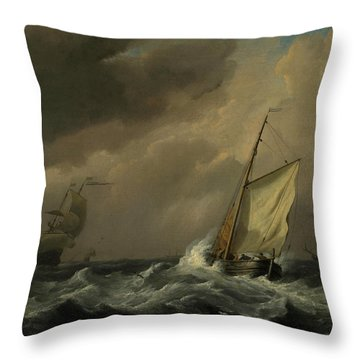 A Small Dutch Vessel Close-hauled In A Strong Breeze Throw Pillow