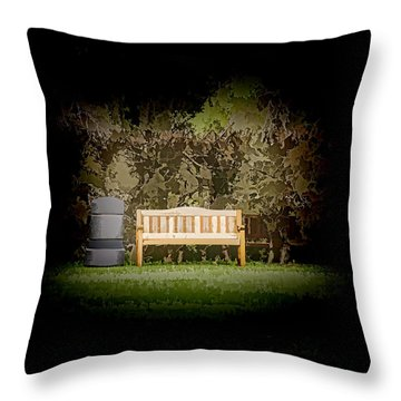 A Trash Can And Wooden Benches In A Small Grassy Area Throw Pillow
