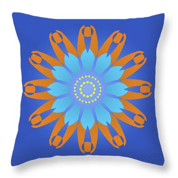 Abstract Blue, Orange And Yellow Star Throw Pillow