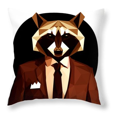 Abstract Geometric Raccoon Throw Pillow by Gallini Design
