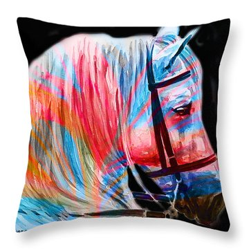 Throw Pillow featuring the painting Abstract White Horse 19 by J- J- Espinoza