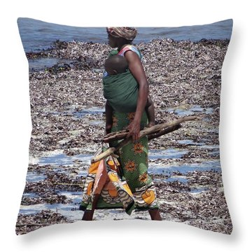 African Woman Collecting Shells 1 Throw Pillow