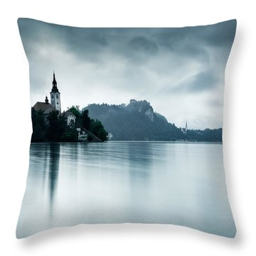 Throw Pillow featuring the photograph After The Rain At Lake Bled by Ian Middleton