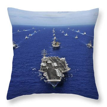 Throw Pillow featuring the photograph Aircraft Carrier Uss Ronald Reagan by Stocktrek Images