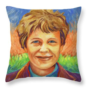 Amelia Earhart Portrait Throw Pillow