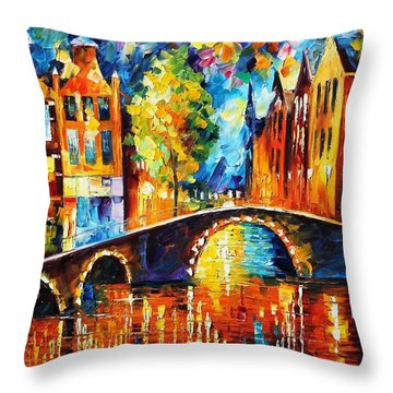 Amsterdam Throw Pillow by Leonid Afremov