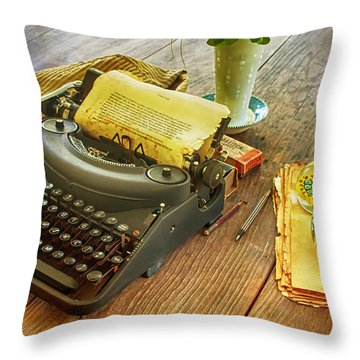 An Author's Tools Throw Pillow by Lynn Palmer