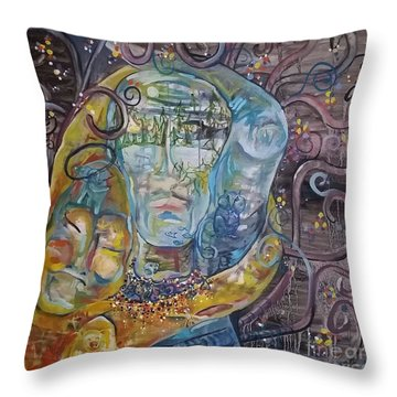2 Angels Hugging Environmental Warrior Goddess Throw Pillow