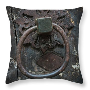 Throw Pillow featuring the photograph Antique Door Knocker by Elena Elisseeva