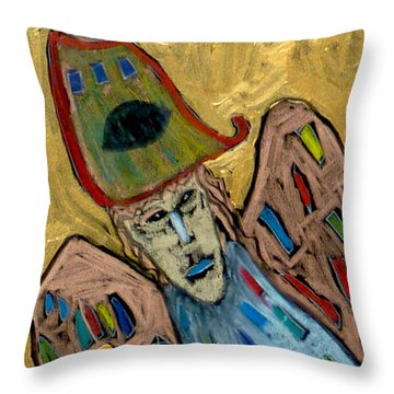Throw Pillow featuring the painting Archangel Michael by Clarity Artists