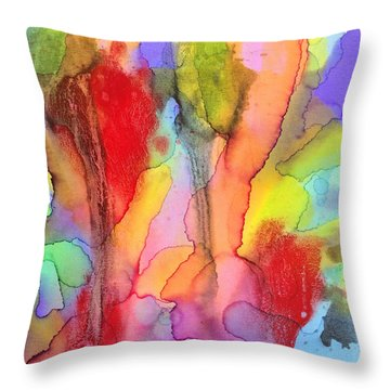 2 Art Abstract Painting Modern Color Signed Robert R Erod Throw Pillow
