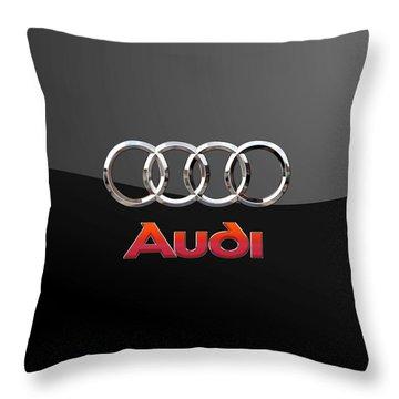 Audi - 3 D Badge On Black Throw Pillow