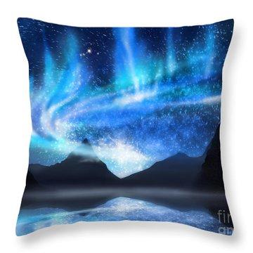 Aurora Borealis Throw Pillow by Setsiri Silapasuwanchai