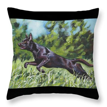 Throw Pillow featuring the painting Australian Kelpie by Lee Ann Shepard