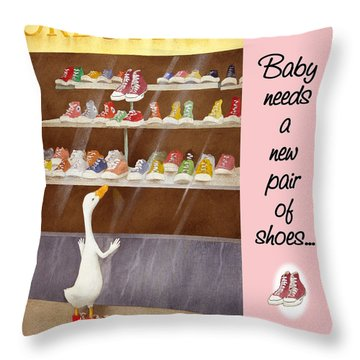 baby needs a new pair of shoes...THROW-TOTE Throw Pillow by Will Bullas