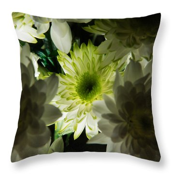 Throw Pillow featuring the photograph Backlit White Dahlia by Dennis Dame