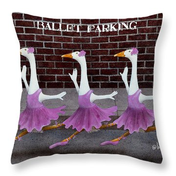 Ballet Parking... Throw Pillow by Will Bullas