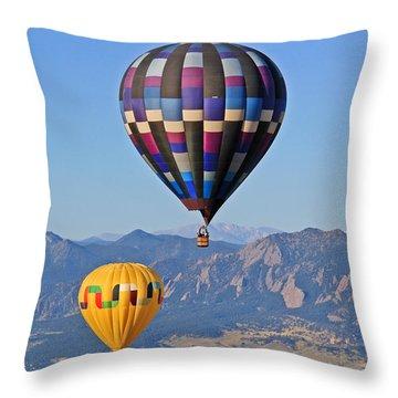 2 Balloons Flying Over The Flatirons Throw Pillow by Scott Mahon