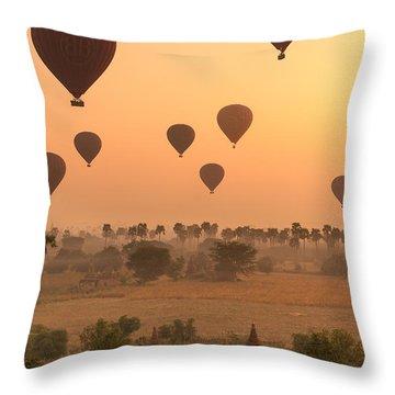 Balloons Sky Throw Pillow