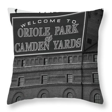 Baltimore Orioles Park At Camden Yards Bw Throw Pillow