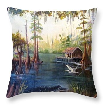 Barbara's Bayou Throw Pillow