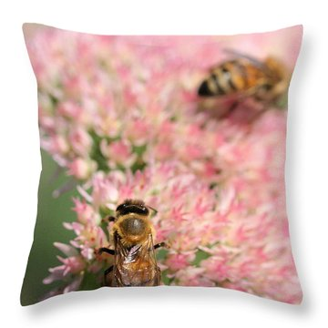2 Bees Throw Pillow by Angela Rath
