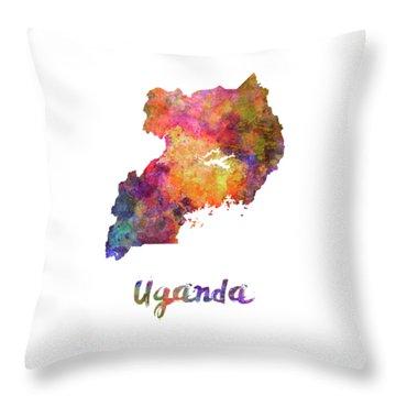Uganda In Watercolor Throw Pillow
