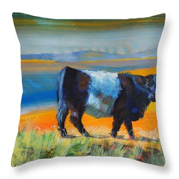 Belted Galloway Cow Throw Pillow
