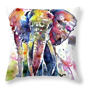 Big Colorful Elephant Throw Pillow