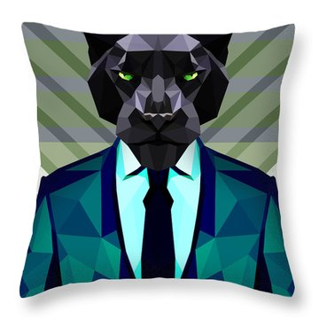 Black Panther Throw Pillow by Gallini Design